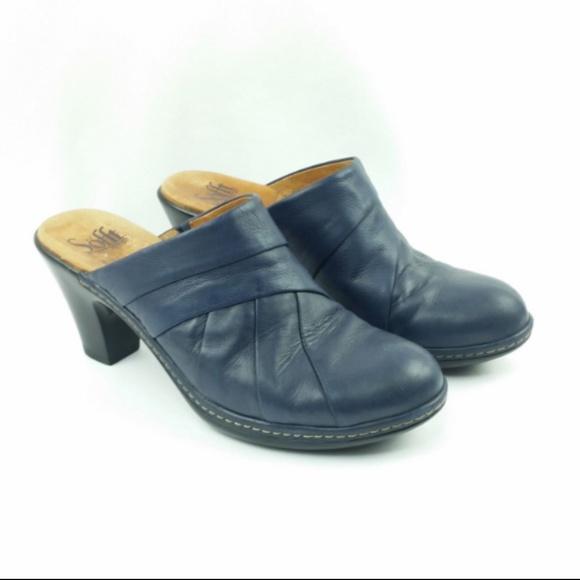 1af9ba685b Sofft 7 Blue Leather Platform Mule Clog Comfort